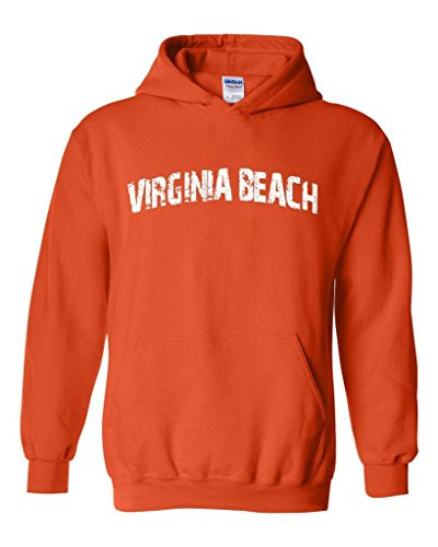 Blue Tees Virginia Beach Chesapeake Bay Travel Unisex Hoodie Sweatshirt Small Orange ()