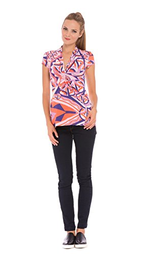 (Olian The Aimee Ruched Front Print Top)