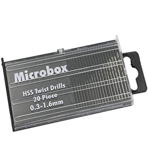 CHLZYD Mini 20 pcs Mini Micro HSS High Speed Steel Twist Drill Set Model 0.3mm-1.6mm by CHLZYD (Image #2)