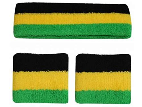 BUNFIREs Jamaica Jamaican Items Banners, Flags, Jewelries, Hats, License Plate Tag, Large Flag, Fanny Pack, Sweatband (Sweatband Set)