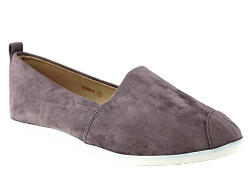 New Mujeres London-4 Gamuza Mocasines Smoking Slip On Flats Mocasines Zapatos Gris Oscuro