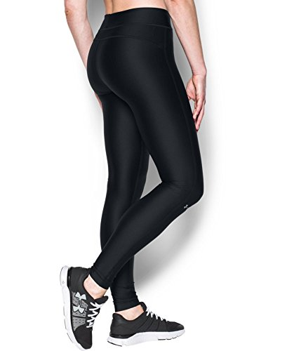 Under Armour Womens HeatGear Armour Legging, Black /Metallic Silver, Small by Under Armour (Image #1)