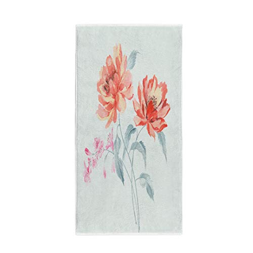 (Semtomn 14 x 30 Inches Bath Towel Enthusiasm is Bold and Unrestrained of Flowers Series The Soft Absorbent Travel Guest Decor Hand Towels Washcloth for Bathroom(One Side)