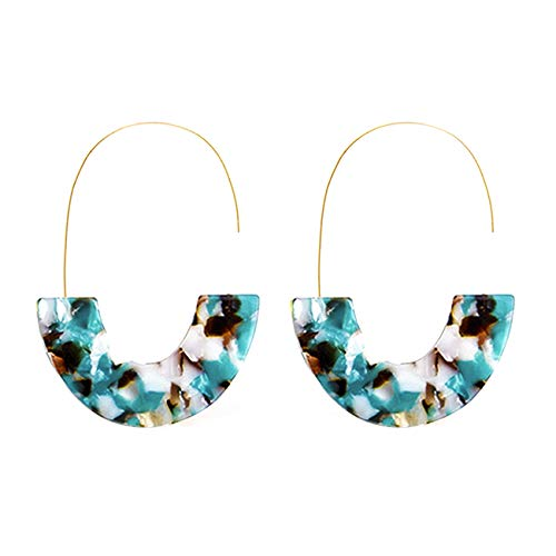 Turquoise Acrylic Half Round Hoop Drop Earrings KELMALL COLLECTION