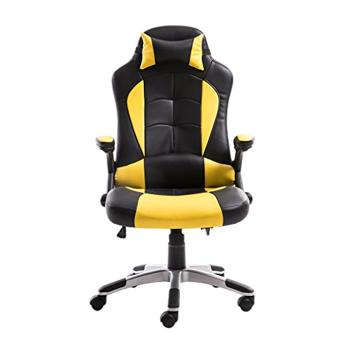 41WBeeH2VeL - Executive Swivel Leather Gaming Chair, High Back Recliner Office Chair Computer Racing Gaming Chair With Lumbar Support and Adjustable Headrest Pillow