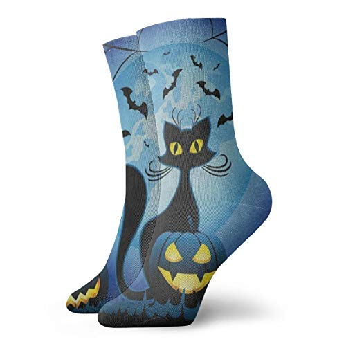 Mens Womens Crew Socks Halloween Kitten Athletic Socks Anti Bacterial Odor Cushion Short Boot Stocking