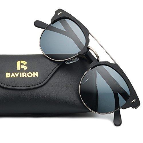 BAVIRON Acetate Sunglasses for Man and Women Similar Wooden Grain Polaroid Lenses UV400 Protection (C10 Black / Black, - Buy Sunglasses Polaroid