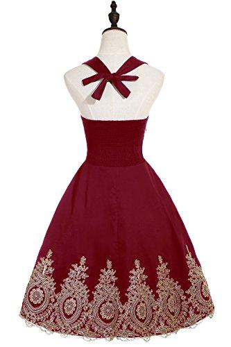 Babyonlinedress Vestido corto de fiesta para boda estilo Aline vestido de fiesta de noche cuello de halter sin mangas burdeos
