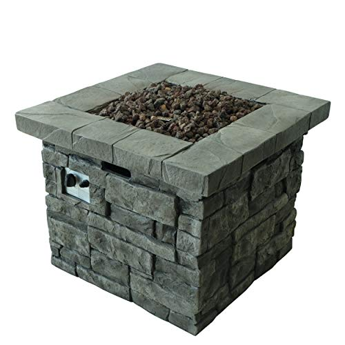 Angeleno Outdoor Grey Square Fire Pit - 40,000 BTU