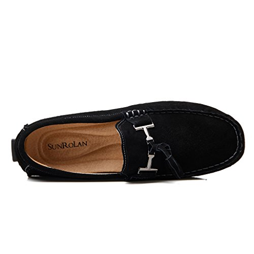 On Leather Low SUNROLAN Slip Loafers Driving Shoes Moccasins Outdoor Tassel Casual Boat Black Suede Car Mens tppxzRqY