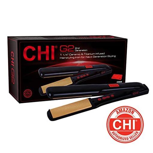 chi g2 - 41WBf1Z0tLL - CHI G2 Ceramic and Titanium 1 1/4″ Straightening Hairstyling Iron