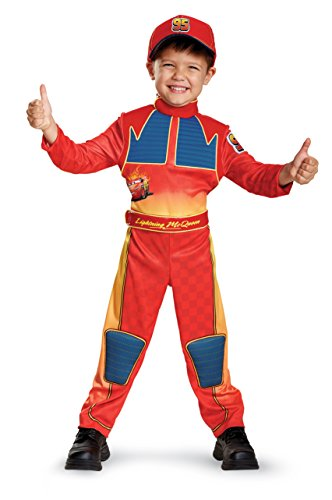 Cars 3 Lightning Mcqueen Deluxe Toddler Costume, Red, Large (4-6) ()