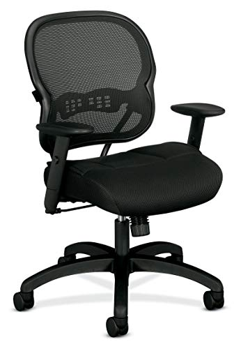 HON Wave Mid-Back Chair - Mesh Office or Computer Chair with Adjustable Arms, Black (VL712)