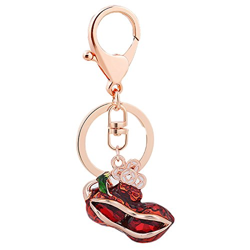 Jytrading Big Beautiful Keychain Peanut Shiny Rhinestone Pendant Keychain Key Chain Bag Hanging Decor Gift (Spiral Peanut Red)