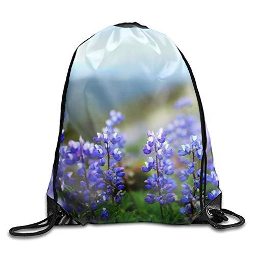 (3D Print Drawstring Backpack Lightweight Travel Backpack Earth Flowers)