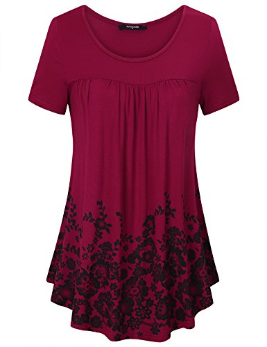 Laksmi Spring Summer Women Tops, Ladies Casual Staple Vintage Classy Rose Print Short Sleeve Pleated Cute Utility Shirt T-Shirt Blouse,Wine (Womens Pleated Print Blouse)