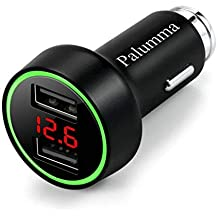 Palumma Car Charger, 5V/3.6A Dual USB Port Safe Smart Quick Car Charger Adapter with LED/LCD Display Battery Low Voltage Warning Volt Meter Car Battery Monitor (Black)