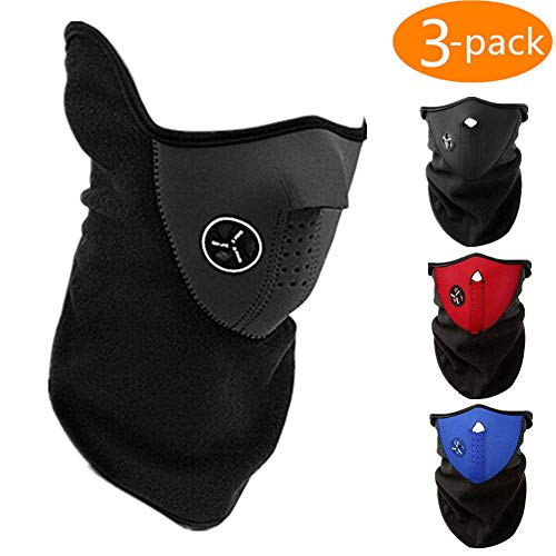CHAOM 3PCS Ski Face Mask Winter Outdoor Windproof Anti Cold Sports Mask Fit Motorcycles, Bicycle, Skiing, Running,Mountain Climbing ()