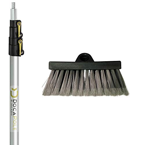 Pan Push Button - DocaPole 5-12 Foot Soft Bristle Scrub Brush Extension Pole |Car Wash Brush Extension Pole | Long Handle Scrub Brush and Deck Brush for House Siding, Windows, Deck, Car, Truck, RV and more