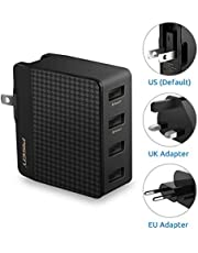 PISEN USB Wall Charger 4-Port Fast Charging International Travel Adapter
