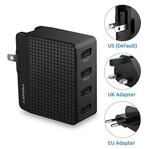 PISEN 4 Port USB Wall Charger, Universal Travel Adapter with US UK EU Foldable AC Plug 20W 5V 4A Total Output for iPhone, IPad, Samsung Galaxy, Nexus, Tablets and Android Smartphones (Black)