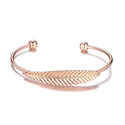 [Fishion Jewelry Simple Gold Plated Feather Bracelet Leaf Open Cuff Bangle for Women Girls (Rose Gold)] (Simple Stack)