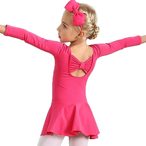 AMOUR TIME Kids Girls Classic Long Sleeve Dance Ballet Dress Bowknot Design Leotard (E-Rose Red, Age for 3-4Y)