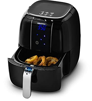 Gourmia GAF520 Electric Air Fryer with 4 Preset Functions, LED Display & Adjustable Temperature Controls Includes Fry Basket, Free Recipe Book - 1400W 4.5 Quart - 110/120V
