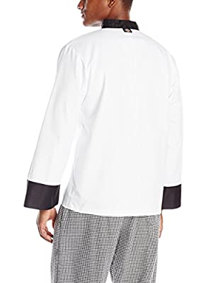 Dickies Men's 10 Chef Coat with Black Buttons and Trim