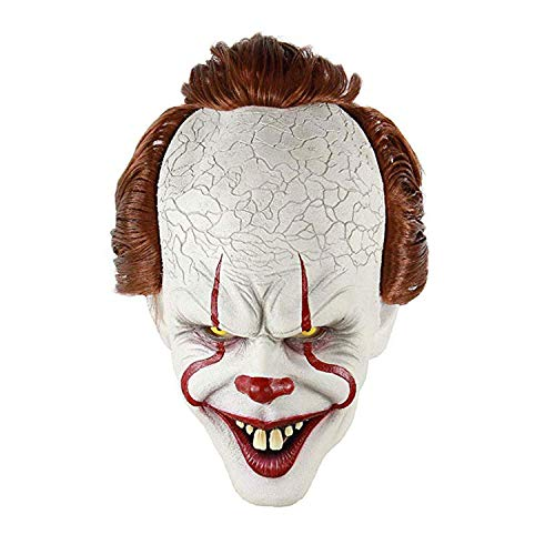 Stephen King's It Mask Pennywise Horror Clown Joker Mask Clown Mask Halloween Cosplay Costume Props (multcolor)]()