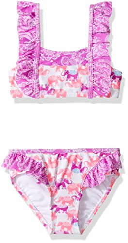 Hulu Star Little Girls' Barnum and Bailey Two Piece Bikini Swimsuit, Pink/Purple, - Bathing Bikini Suit Hula Girl