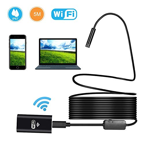 eless Endoscope, 2.0 MP HD WiFi Borescope Inspection Camera,16 inch Focal Distance & 1800mAh Battery Snake Camera for Android & IOS Smartphone Tablet - Black 33FT ()