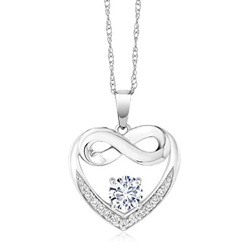 10K White Gold Pendant Lab Grown Diamond Heart and Infinity Necklace Forever Brilliant (GHI) Round 0.50ct (DEW) Created Moissanite by Charles & Colvard