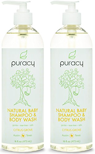 Apple Scented Shampoo (Puracy Natural Baby Shampoo and Body Wash, Sulfate Free Bubble Bath and Daily Cleanser, Developed by Doctors for Children of All Ages, Citrus Essential Oils, 16 Ounce Bottle, (Pack of)