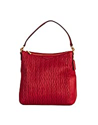 Savvy Fine Leather Chevron Patterned Designer Coach Handag In Red