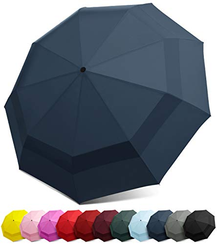 - EEZ-Y Compact Travel Umbrella w/Windproof Double Canopy Construction - Auto Open/Close Button