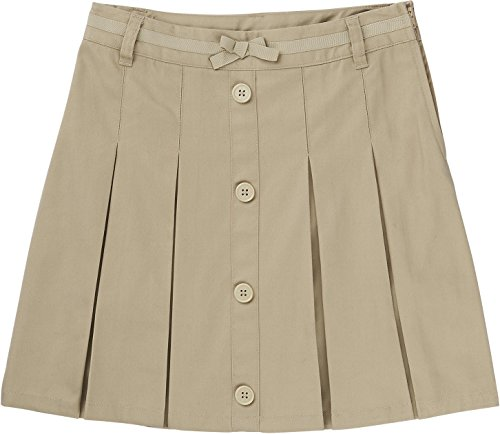French Toast School Uniform Girls Pleat Button Front Scooter, Khaki, - Front Twill Button Skirt