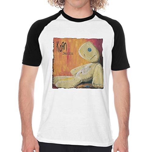MONIKAL Men's Raglan Baseball T-Shirt Korn-Issues Fashion Printed Short Sleeves Tee S Black