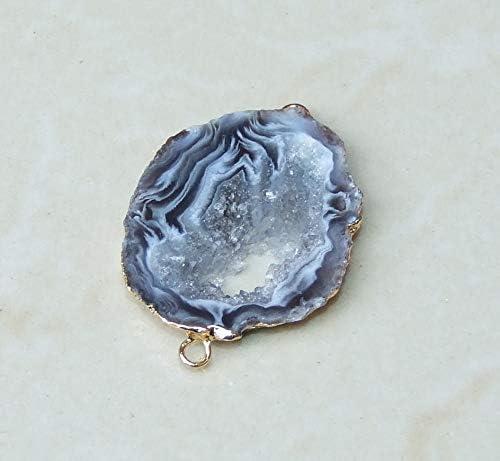Geode Pendant Druzy Pendant 14mm x 20mm 2291 Loose Stones Gemstone Pendant Geode Connector Agate Slice Druzy jewelry Druzy Connector