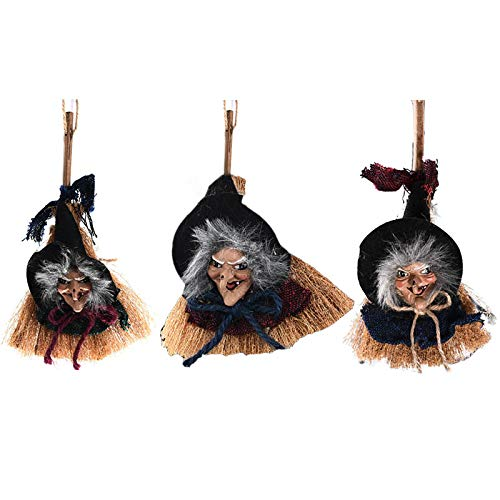 SYLOTS 3 Pcs Hanging Animated Witch on Wooden Broomstick Decoration Dolls Halloween Props Scary Ghost Dolls Witch Halloween Decorations Haunted House Toys Gift Decor Yard Outdoor Indoor