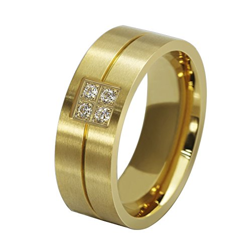 ANAZOZ Customize Stainless Steel Rings for Men Wedding Rings Cubic Zirconia Gold 4 8MM Size 10 ()