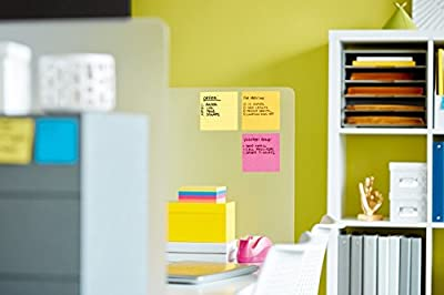 Post-it Pop-up Notes Super Sticky DS440SSVP Pop-up Note Dispenser/Value Pack, 4 x 4 Self-Stick Notes, Black/Clear, Includes 4 Pads of Canary Yellow Notes