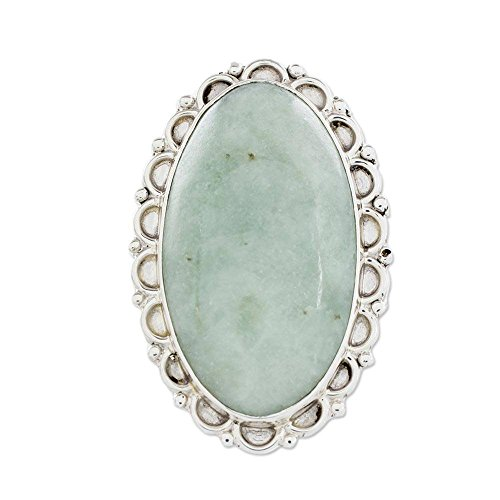 NOVICA Jade Oval .925 Sterling Silver Handcrafted Guatemalan Ring, Pale - Green Ring Novica