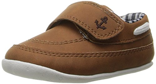 Baby Boat Shoes (Carter's Every Step Stage 2 Boy's Standing Shoe, Finn, Brown, 4 M US Toddler)