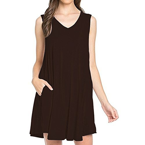 - TINYHI Sunday Women's Sleeveless V-Neck Side Pockets Casual Swing T-Shirt Hilfiger Dress Chocolate,L