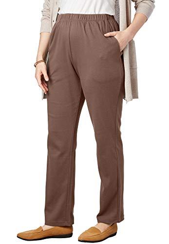 (Woman Within Women's Plus Size Petite 7-Day Knit Straight Leg Pant - Soft Brown, 1X )