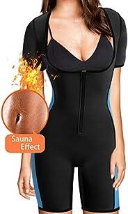 Women Full Body Shaper Neoprene Sweat Sauna Suit Sport Waist Trainer Slimming Shapewear Bodysuit with Sleeves