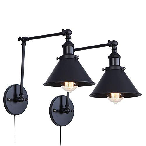 Balck Wrought Iron Wall Light Plug in Cord with On Off Switch Swing Arm Retro Vintage Wall Lamp Wall Mount Light Sconces Set of 2