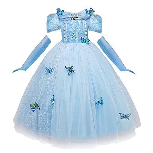 NNDOLL Cenerentola Vestito Costumi Carnevale Bambina Bimba Principessa Azzurro Farfalla Manica Corta Abito(140 (6 7 Anni)