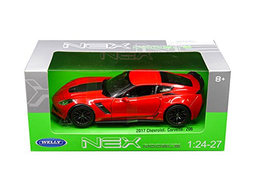 (Welly 2017 Chevrolet Corvette Z06 Red 1/24-1/27 Diecast Model Car by 24085R )